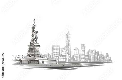 Modern city and statue silhouette illustration. Vector.