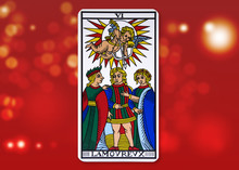 Tarot Card - The Lovers. Red B...