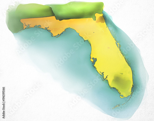 Florida Usa Watercolor Map Buy This Stock Illustration And Explore