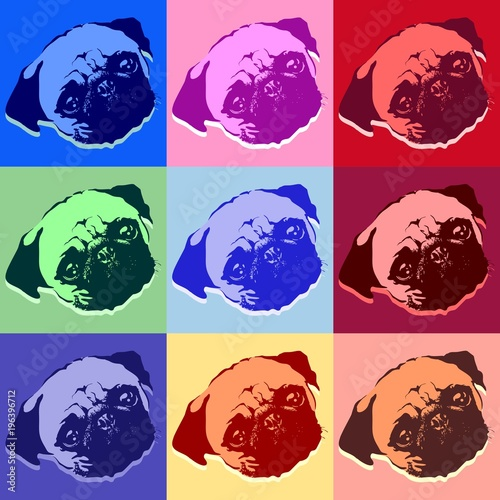 Deurstickers Draw Pug Puppy Dog PopArt Vector