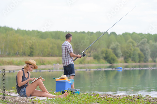 Poster Peche couple fishing