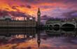 canvas print picture - Dramatischer Sonnenuntergang über Westminster und dem Big Ben in London, England
