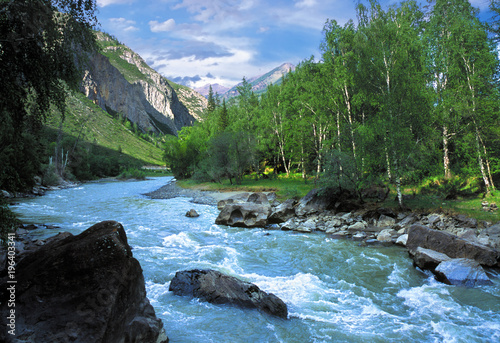 Obraz Chuja mountain river in Altai, Russia - fototapety do salonu