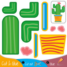 Green Cactus In A Yellow Flowerpot. Education Paper Game For Preshool Children. Vector Illustration.