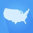 USA map simple shape blue