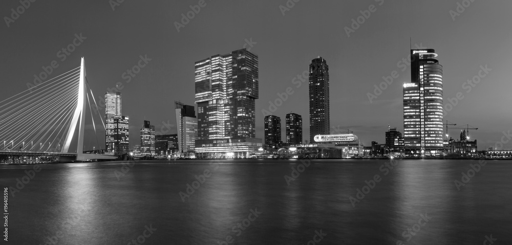 Fototapeta City Landscape, black-and-white panorama - Night view on Erasmus Bridge and district Feijenoord city of Rotterdam, The Netherlands.