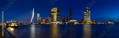 Valokuvatapetti City Landscape, panorama - Night view on Erasmus Bridge and district Feijenoord city of Rotterdam, The Netherlands