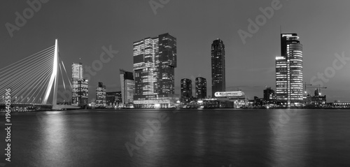 Poster Rotterdam City Landscape, black-and-white panorama - Night view on Erasmus Bridge and district Feijenoord city of Rotterdam, The Netherlands.