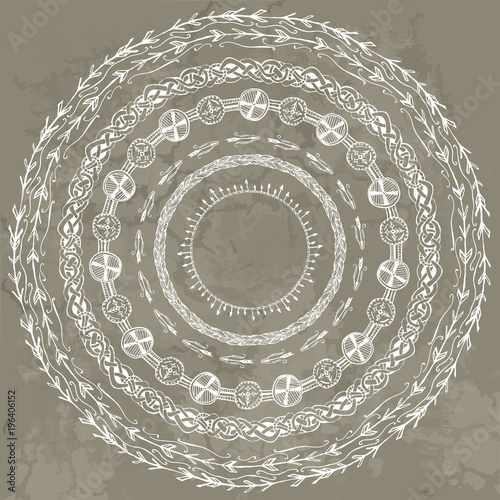 Fotografia, Obraz  set of stylized round frameworks from hand drawing Scandinavian Viking motifs, f