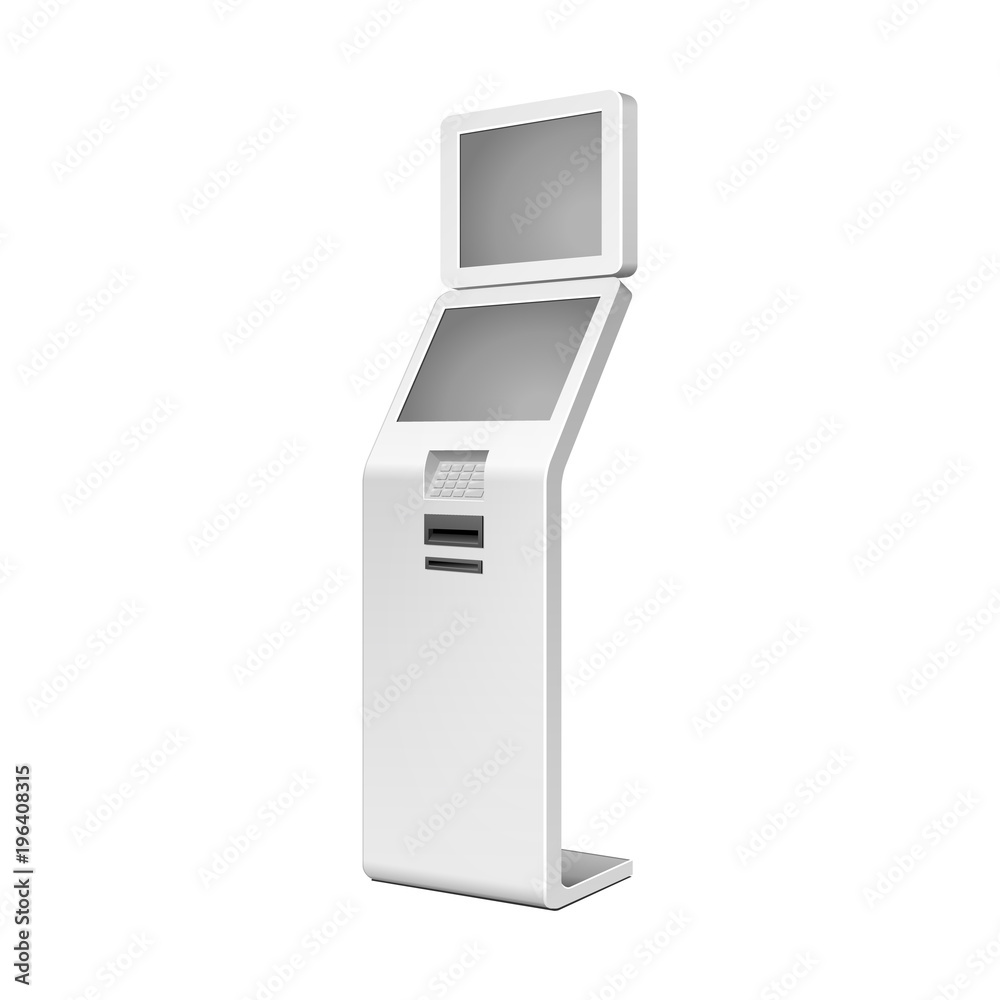 Fototapeta Outdoor White. Payment Terminal. ATM, POS, POI Advertising Stand On White Background. 3D Mock Up, Template. Illustration Isolated On White Background. Vector EPS10