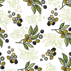 Fototapetaseamless pattern with olive branch and olive tree berries