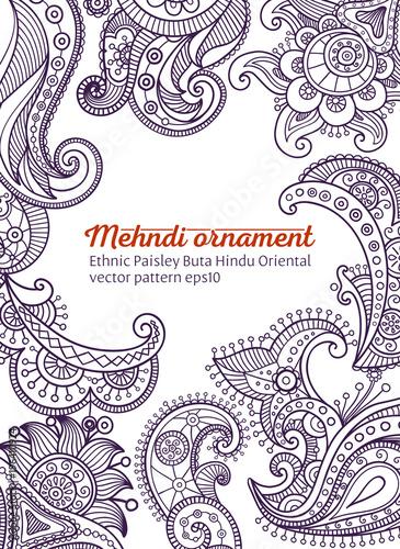 Foto auf AluDibond Boho-Stil mehndi vector pattern, ethnic paisley buta hindu oriental ornament, purple curl, floral motif