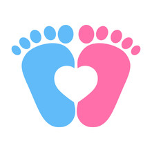 Illustration Of A Blue And Pink Girl's Footprint With A Heart On A White Background A Child's Love Symbol.