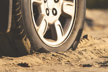Car Wheel In The Sand, Retro T...