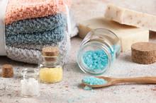 Bath Salts In Glass Bottles,wooden Spoon