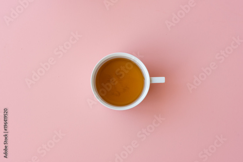Fototapeta Directly above view of tea in cup on pink background obraz na płótnie