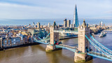 Fototapeta Londyn - Aerial view on Tower Bridge and Shard in sunny day, London