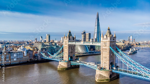 Foto op Canvas Londen Aerial view on Tower Bridge and Shard in sunny day, London