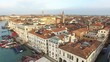 Aerial. Flying above Grand canal. Venice, Italy. Sunrise. 4K