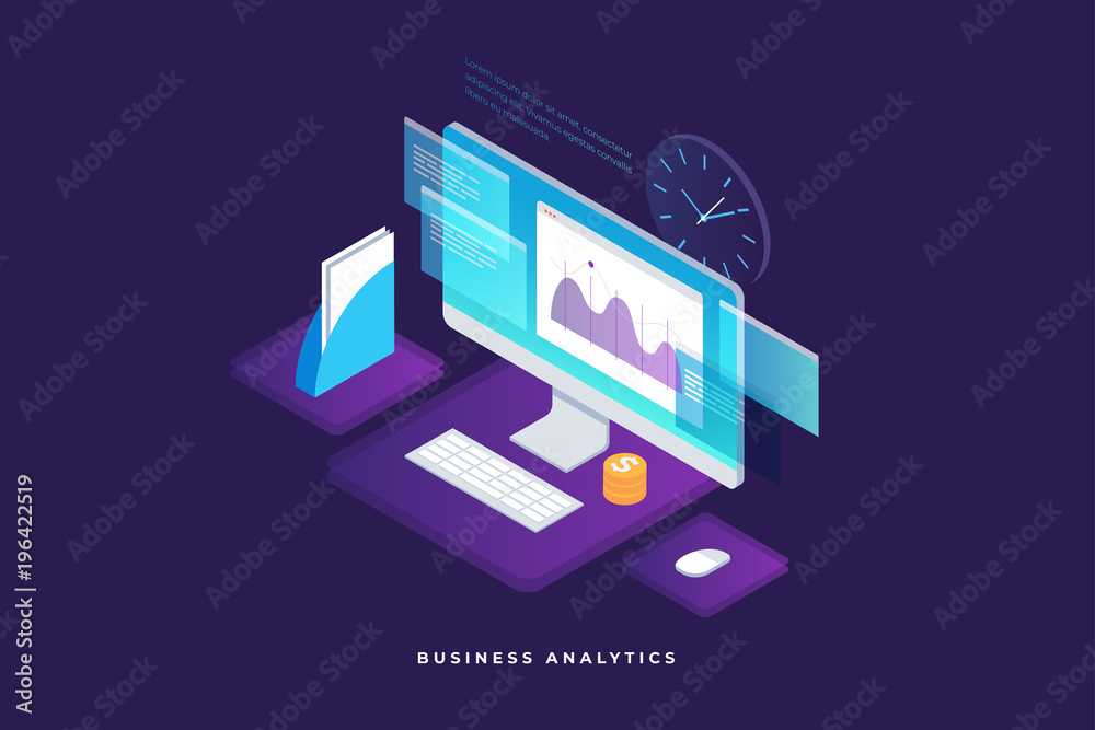 Fototapety, obrazy: Business strategy and planning. Data and investments. Business success. Computer monitor with infographic elements. Design for presentation, landing page. 3d isometric flat design. Vector illustration