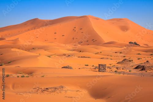 In de dag Zandwoestijn Sand Dunes of Erg Chebbi int he Sahara Desert, Morocco