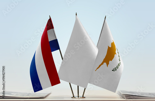 Flags of Netherlands and Cyprus with a white flag in the middle