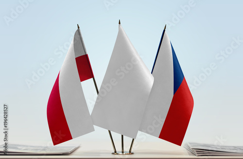 Flags of Poland and Czech Republic with a white flag in the middle Poster