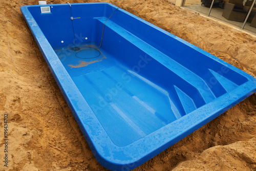 Swimming pool under construction. Canvas Print