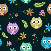 Cute Owl And Floral Seamless P...