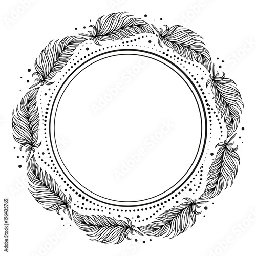 Papiers peints Style Boho Vector dots and feathers black and white frame.