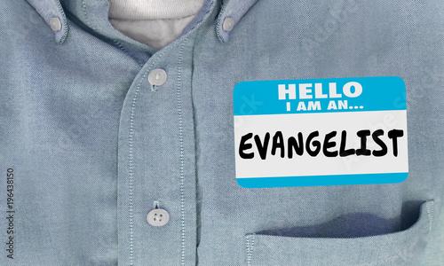 Photo  Evangelist Hello Name Tag Sticker Supporter Preacher  3d Illustration