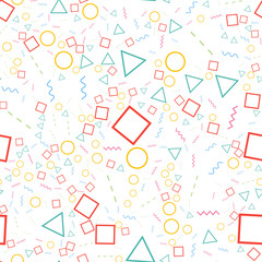 FototapetaGeometric seamless pattern from different shapes. Triangle circle square line zigzag. Abstract repeating background. Vector illustration