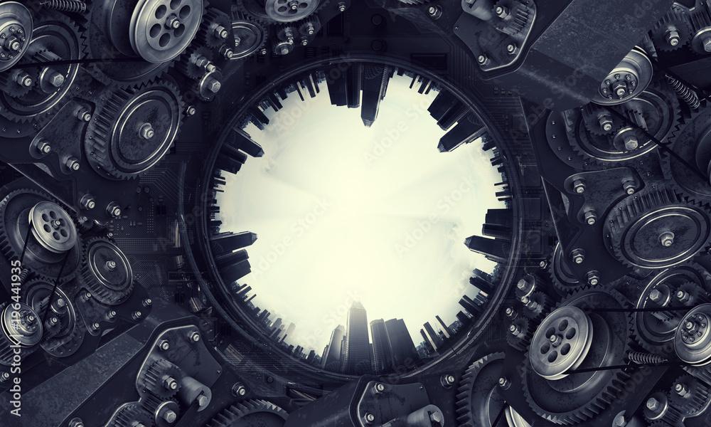 Fototapeta Metal gear mechanism. Mixed media