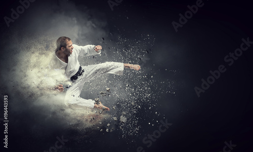 Fighter practising his art