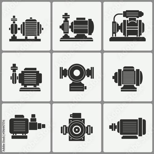 Fotografía Water pump icons set.