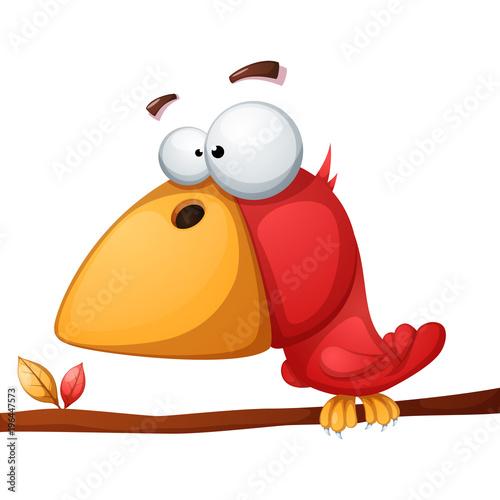 Cute, funny, crazy bird illustration Vector eps 10 Canvas Print