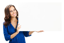 Young Woman With Blank Signboard, On White