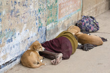 Homeless Man Lies With The Dog...