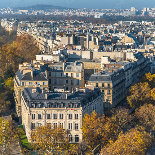 Papiers peints Paris Paris, panorama from the Arc de Triomphe, aerial view, beautiful buildings and roofs, the Mont Valerien in background