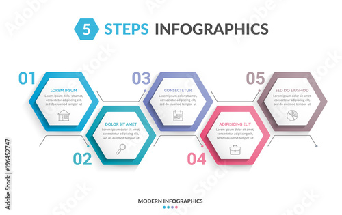5 Steps Infographics Poster Mural XXL