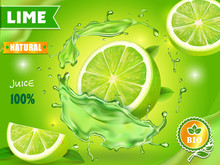 Lime Juice Poster Advertising Design. Vector Mojito Cocktail Or Citrus Tonic