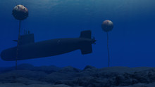 3D Illustration Of A Submarine...