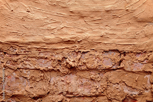 brick wall background anointed with clay Wallpaper Mural