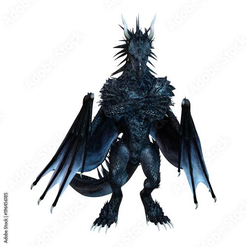 Photo  3D Rendering Fantasy Black Dragon on White