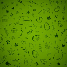Seamless Easter Pattern With Eggs, Bunny, Flowers, Birds, Cakes, Hearts, Butterflies, And Carrots On Green Background