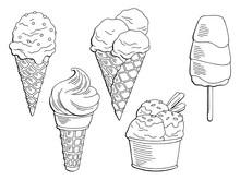 Ice Cream Dessert Graphic Blac...