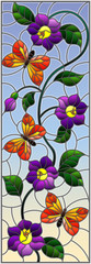 NaklejkaIllustration in stained glass style with abstract curly purple flower and an orange butterfly on sky background , vertical image