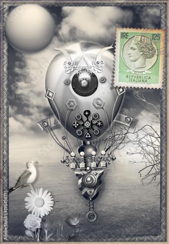 Poster Imagination Mongolfiere steampunk in volo in un paesaggio fiabesco