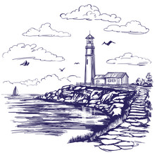 Lighthouse And Sea Landscape H...