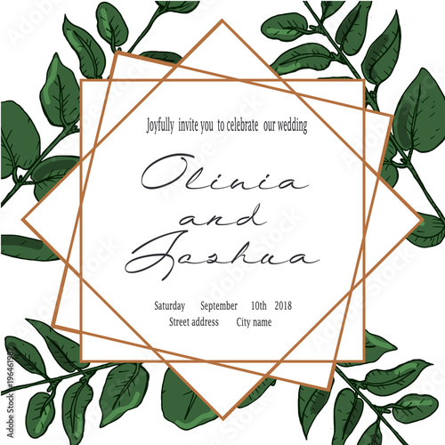 Fototapeta Wedding Invitation Floral Invite Card Design With Green Tropical Forest Palm Tree Leaves Forest Fern Greenery Simple Geometric Golden